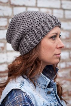Adult Shanti Hat in Silver Grey - 34 Colors Available || crochet slouch hat…