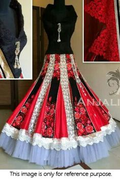 Bollywood Style Model Net and Jacquard,Viscose,Georgette Lehenga In Black and Red Colour NC1047