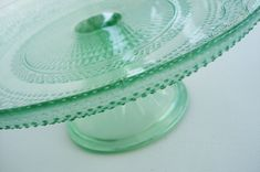 vintage-inspired mint glass cake stand