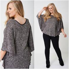 Womens Plus Size Kimono Sleeve Top Fine Knit Lightweight Tunic Jumper Poncho Plus Size Kimono, Body Shapes, Kaftan, Jumper, Bell Sleeve Top, Tunic Tops, Suits, Knitting, Grey