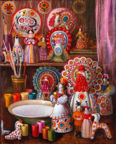 """Inna Shirokova """"Table of dymkovo mistress"""" / """"Tisch von Dymkovo Meisterin"""" / """"Стол мастерицы дымковской игрушки"""", 2009 Russian Culture, Russian Folk Art, Clay Figures, Clay Projects, Textile Prints, Color Splash, Art Dolls, Old Things, Drawings"""