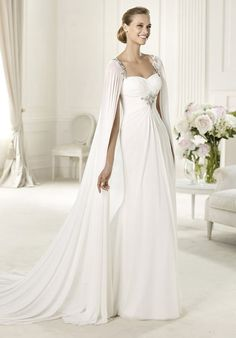 Chiffon sweetheart dress and a cape held by fine beaded straps-Unique wedding dress for an unique moment, we will make it especially for you at Www.DreamDress.co/custom