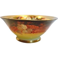 """French Limoges 9 ¾"""" Bowl Signed by Pickard – Donath Artist Max Rost Red Currants & Autumn Leaves c 1900 - 1910 found at www.rubylane.com @rubylanecom"""