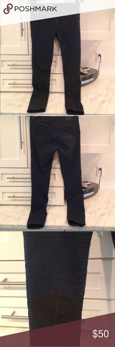 AG Color Block Ally Preloved dark blue and black color blocked jeans. Dark blue above the knee and black below AG Adriano Goldschmied Jeans Skinny
