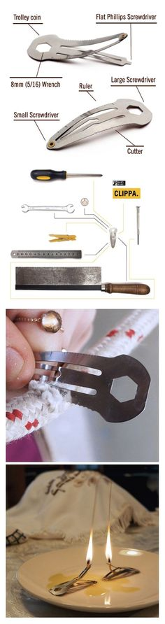 Clippa- Mini tools clip :: A multi functional hair clip that doubles as a toolbox on the go! Made of Stainless steel. http://www.animicausa.com/shop/Gifts-for-Him/Leatherdos-Mini-tools-clip/tpflypage.tpl.html