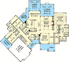 Angled Craftsman Home Plan with Outdoor Spaces Craftsman Mountain Ranch Floor Master Suite Bonus Room Butler Walkin Pantry CAD Available Jack Jill Bath PDF. Ranch House Plans, Craftsman House Plans, Best House Plans, Country House Plans, Dream House Plans, House Floor Plans, Craftsman Ranch, Craftsman Farmhouse, Luxury Houses