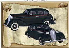1936 Black Sedan Vintage Cars on a Scroll A4 on Craftsuprint - Add To Basket!