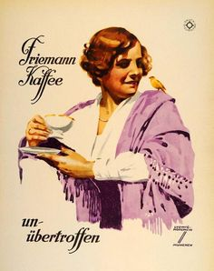 """""""Friemann Kaffee"""" This is an original 1926 seven-color lithograph advertising mini poster by Ludwig Hohlwein for Friemann Coffee. Period Paper is pleased to off"""