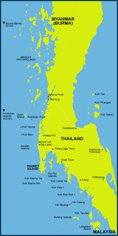 Map Of Thailand including Similan Islands, Koh Phi Phi, Mergui Archipelago