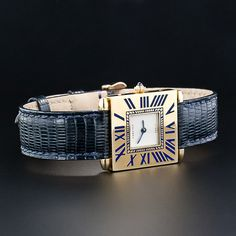 "From Cartier Paris, a rare and wonderful reissue of the highly coveted (and long discontinued) Touchon wrist watch with cobalt blue enamel Roman numeral chapters. 30 X 20 millimeters, quartz movement, small initials ""JRJ"" engraved on reverse. Cartier Jewelry, Antique Jewelry, Vintage Jewelry, Jewelry Watches, High Jewelry, Jewelry Stores, Art Deco Watch, Art Deco Diamond, Love Bracelets"