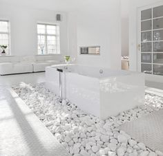 Lovely Unique Bathroom Design Ideas Total whiteout -- white rocks, white floors, white walls and smooth surfaces creating the ultimate luxurious feeling. Stone Bathroom, Small Bathroom, Bathroom Ideas, Bathroom Designs, Bathroom Modern, Zen Bathroom, Master Bathroom, Modern Room, Bathroom Storage
