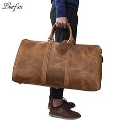 Online shopping for Sports & Travel Bags with free worldwide shipping Mens Travel Bag, Duffle Bag Travel, Travel Bags, Duffel Bags, Weekender, Leather Slip Ons, Real Leather, Leather Men, Leather Bags