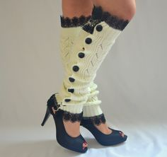 Ivory slouchy open button down lace leg warmers knit lace leg warmers boot socks birthday gifts women's acessory christmas gifts Boot Cuffs, Boot Socks, Knee Socks, High Socks, Steampunk Hut, Knit Leg Warmers, Hand Warmers, Lace Knitting, Knit Lace