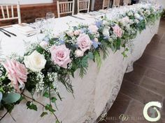 top table garland - top table garland - dusky pink wedding - rose quartz and serenity blue. Wedding Table Garland, Flower Garland Wedding, Bridal Table, Rustic Wedding Flowers, Flower Garlands, Wedding Top Table Flowers, Table Wedding, Table Flower Arrangements, Wedding Arrangements