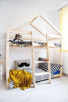 Stapelbed Huisje E 90x200   Kidsworld XXL Boys Loft Beds, Kid Beds, Toddler Rooms, Toddler Bed, House Beds, Girl Room, Kids Bedroom, Decoration, Cribs
