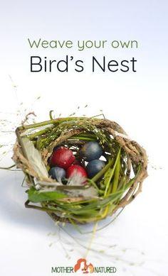 How to make a bird nest with natural materials #birdnest #birdcraft #weaving #nest