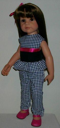 "Top & pants with hair slide made for 18"" Dolls Designafriend/Gotz hannah"