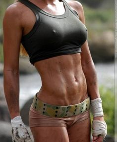 Now that is what I want to accomplish. Long lean muscles and ripped abs! (Can't afford the boobs, yet) ;)