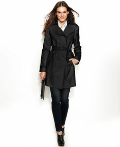 DKNY Double-Breasted Belted Trench Coat on shopstyle.com