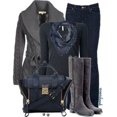 Blue and Grey Winter Fashion #winter #fall #style #fashion #outfit #jeans #sweater #boots #scarf