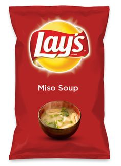 Wouldn't Miso Soup be yummy as a chip? Lay's Do Us A Flavor is back, and the search is on for the yummiest chip idea. Create one using your favorite flavors from around the country and you could win $1 million! https://www.dousaflavor.com See Rules.