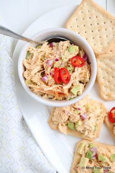 Pittige kip avocado salade voor op toast