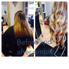 Before and after #ombre #blondhighlights #paulaTracyHairDesigns