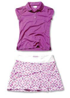 Garb Junior Girls Golf/Tennis Outfits - Ellie Polo Shirts & Cassidy Skorts - Viola (Purple)