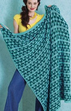 Two-Tone Blanket Free Crochet Pattern from Red Heart Yarns