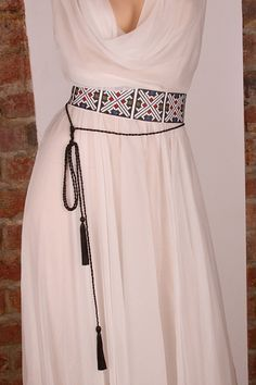 $300 Silk dress with traditional romanian embroidery