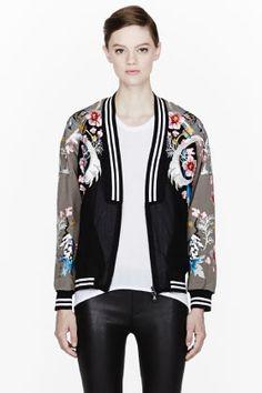 3.1 PHILLIP LIM Black and khaki Embroidered Souvenir Jacket