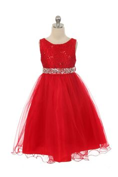aabd3ffca Girls Dress Style 340 - RED Sparkly Tulle Dress with Beaded Waist Classic  beauty with extra
