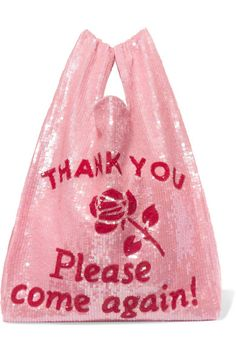 Ashish - Sequined Cotton Tote - Baby pink by Ashish . Cotton Shopping Bags, Bags Online Shopping, Cotton Tote Bags, Reusable Tote Bags, Red Tote Bag, Tote Purse, Tote Handbags, Pink Handbags, Look Fashion