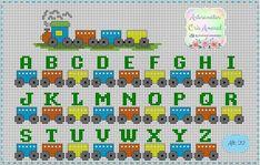 Alphabet Train for Baby Cross Stitch Pattern Cross Stitch Letters, Cross Stitch Boards, Cross Stitch Heart, Cute Cross Stitch, Cross Stitch Train, Embroidery Alphabet, Baby Embroidery, Cross Stitch Embroidery, Baby Cross Stitch Patterns