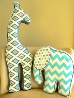 Giraffe Pillow Gray and Blue Ikat. $55.00, via Etsy.