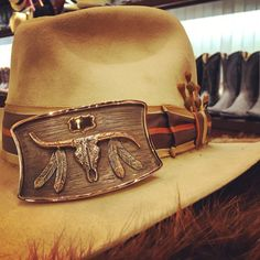 Kemo Sabe Grit Dress Hat. Handmade in Colorado of 100% Beaver Fur. Styled with a Vintage Ribbon Hatband and Some Rusty Horseshoe Nails. The Buckle is by The Bohlin Company in Dallas Texas! #swagger Western Belt Buckles, Western Belts, Leather Hats, Dress Hats, Cowgirl Style, Dallas Texas, Hat Sizes, Colorado, Studs