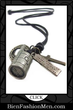 Mens Necklaces | Mens Accessories | Mens Jewelry ♦ Brown Leather and Alloy Pendant Adjustable Necklace Mens Necklace $16.90