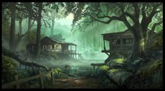 31756-Andree_Wallin-forest-wood-shack-swamp-artwork-fantasy_art-digital_art-concept_art-748x414.jpg (748×414)