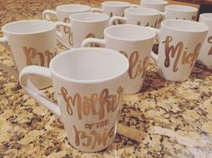 Bride Bridesmaid Mugs CUSTOM MADE to ORDER by SpinGalleryGoods