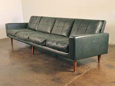 Dark Green Danish Modern Leather Sofa 1960s Scandinavian 4-Seater Couch