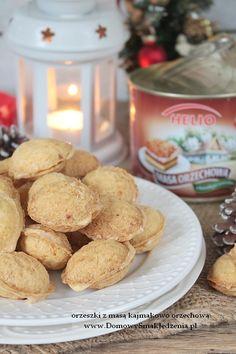 orzeszki z masą orzechową | Domowy Smak Jedzenia .pl Cereal, Food And Drink, Sweets, Cookies, Breakfast, Ibs, Recipes, Meat, Bakken