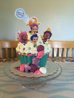 Bubble Guppies giant cupcake cake