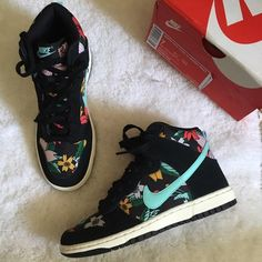 New Nike Aloha Dunk Hi Skinny Print New with box women's Nike dunk hi skinny aloha print. Features a beautiful floral print with a Tiffany blue swoosh and black laces. These are women size 7. Brand new in box. Rare. Sold out everywhere. Similar style to the Nike aloha Roshe. Nike Shoes Sneakers