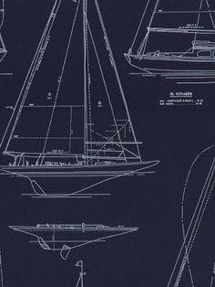 Sailboat blueprints make great beachy wall art design inspiration decoratorsbest detail1 lfy50387f gulf breeze navy navy fabrics decoratorsbest malvernweather Image collections
