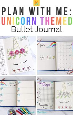 Ideas and inspiration for a unicorn themed bullet journal monthly spread, find mood tracker ideas, layouts, doodles and more!