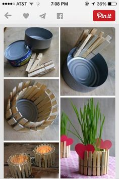DIY Mother's Day Present: recycled tin can candle holder - dad's this would be soo easy to do with the kids - go for it! A lifetime of memories! Diy Mother's Day Presents, Family Presents, Mothers Day Presents, Kids Crafts, Tin Can Crafts, Mother's Day Projects, Craft Projects, Mini Vase, Diys
