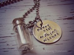 Dandelion Glass Jar Necklace Hand Stamped Metal - Never Stop Making Wishes NEW FONT