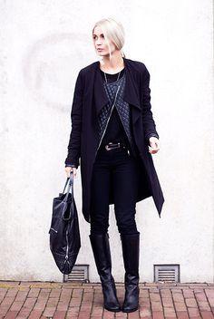 H&M Black Trench Coat, Vila Leather Jacket, Duo Black Leather High Boots, Primark Black Skinny Jeans