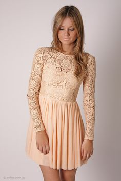 journey long sleeve lace cocktail - blush/peach
