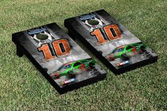 Our NASCAR DANICA PATRICK #10 CORNHOLE GAME SET PIT ROW VERSION. Get your custom set at victorytailgate.com